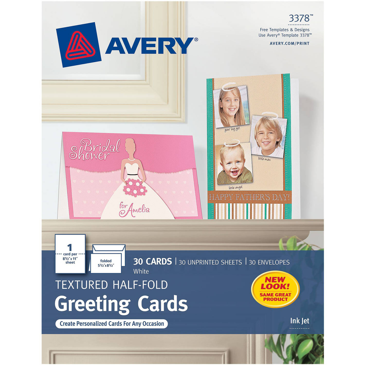 "Avery Half-Fold Greeting Cards, White, Textured, Inkjet, 5-1/2"" x 8-1/2"", Box of 30"