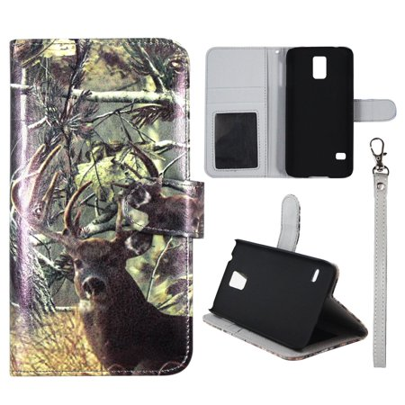 Camo Tail Deer Wallet Folio Case for Samsung Galaxy S5 Mini Fashion Flip PU Leather Cover Card Slots & (Metal Tail Case)