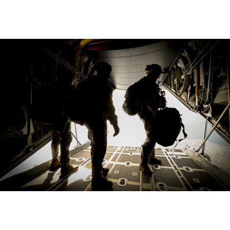 April 22 2015   Us Army Green Berets From The 7Th Special Forces Group Wait To Jump Out Of A C 130H3 Hercules For Exercise Emerald Warrior At Hurlburt Field Florida Poster Print