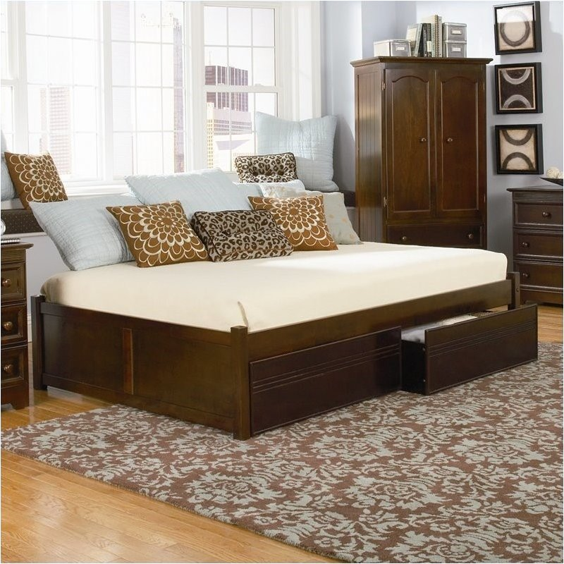 Bowery Hill Flat Panel Wood Twin Day Bed in Antique Walnut by Bowery Hill