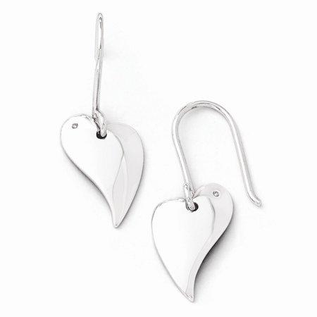 925 Sterling Silver Diamond Flat Hearts Dangle Earrings