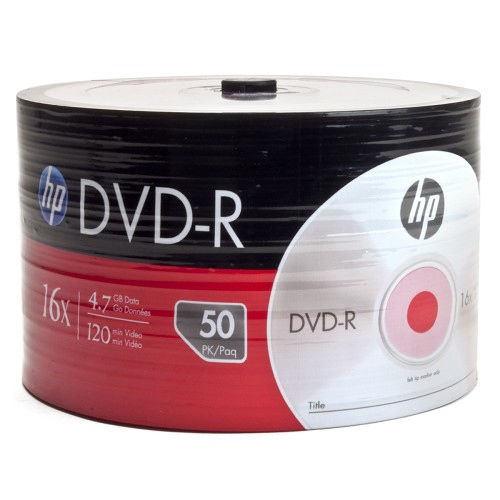 HP DM00070B 16x (max) 4.7GB 120-Minute DVD-R Discs Media 50-Piece Spindle