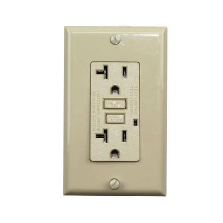 Gfci Receptacle Tg20-L 20-Amp 125 Vac 60 Hz Reset Button; Ivory (Gfi Receptacle Tester)