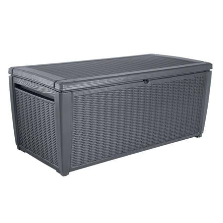 Keter Sumatra 135 Gallon Outdoor Rattan Look Deck Storage Box, Anthracite ()