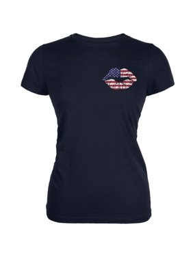 5fe6929b2 Product Image 4th of July American Flag Kiss Lips Navy Juniors Soft T-Shirt