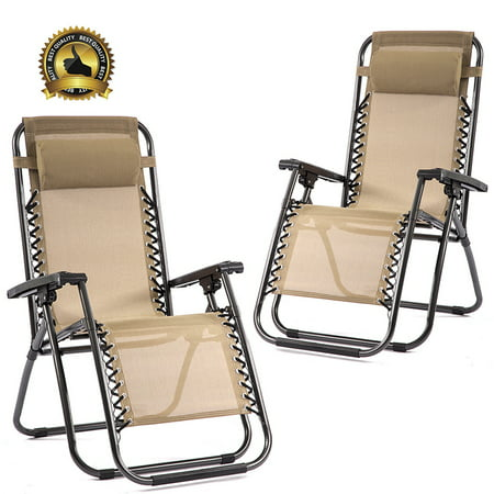 Outdoor Zero Gravity Chairs with Adjustable Pillow, 2 Pack, Beige ()
