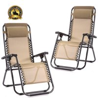 Outdoor Zero Gravity Chairs with Adjustable Pillow, 2 Pack, Beige