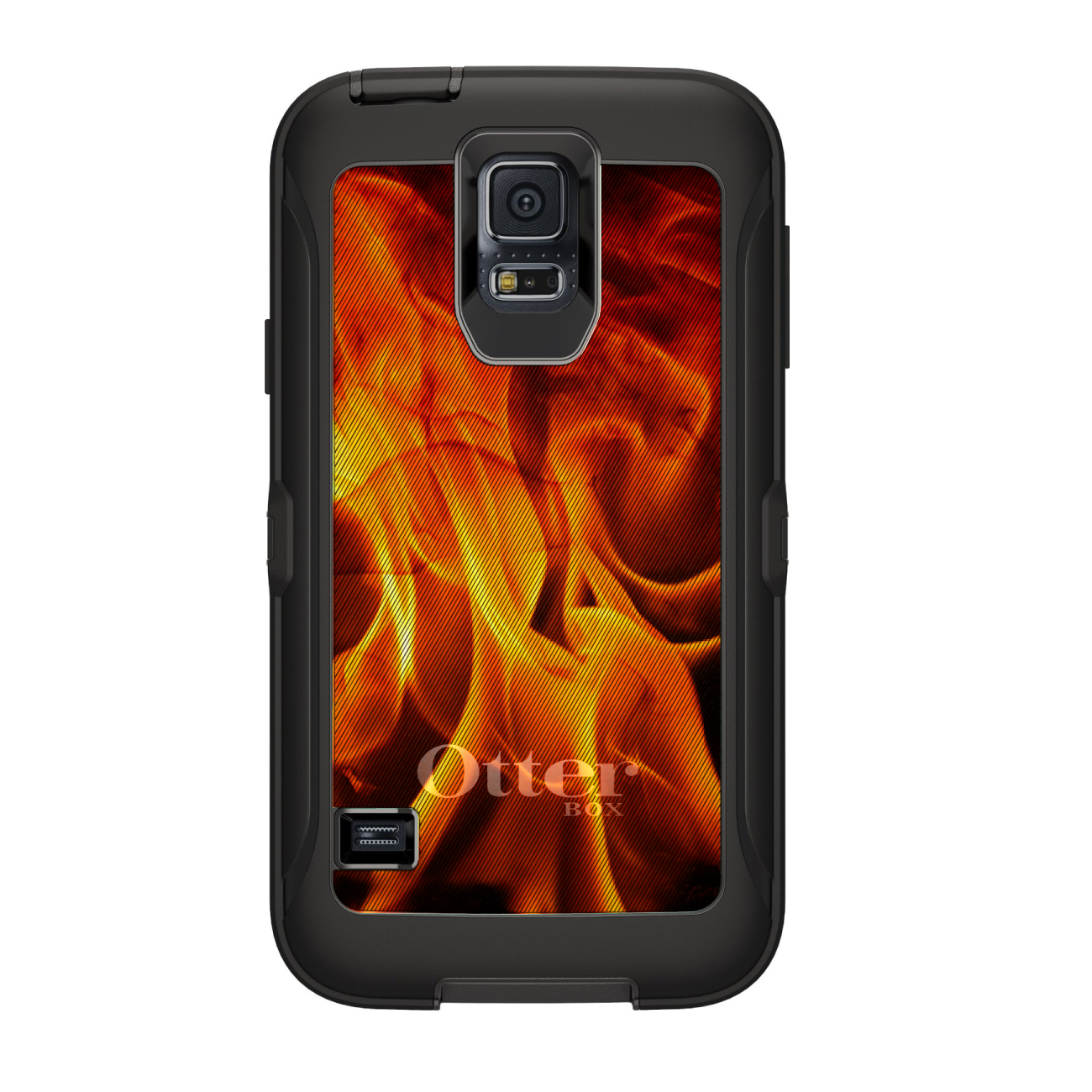 CUSTOM Black OtterBox Defender Series Case for Samsung Galaxy S5 - Red Black Flame Fire