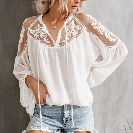- Fysho Women's V-Neck Casual Lace Mesh Stitching Long Sleeve Perspective Ruched Blouse