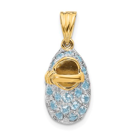 14k Yellow Gold Prong Set March/aquamarine Baby Shoe Pendant Charm Necklace Birthstone Fine Jewelry Gifts For Women For Her - image 6 of 6