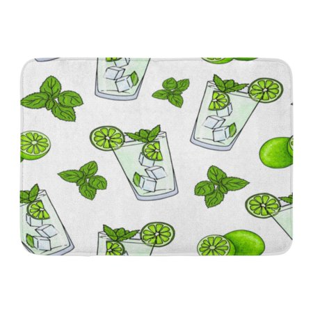GODPOK Glass of Mojito Ice Cubes Mint Leaves Lime Slice and Whole Hand Drawing Alcohol Cocktail in Cartoon Rug Doormat Bath Mat 23.6x15.7