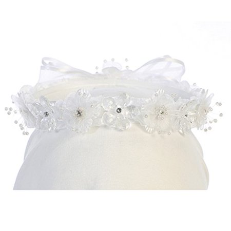 Flower Sparkle Beaded Headband Headpiece Hair Wreath Bow Flower Girl Crown White