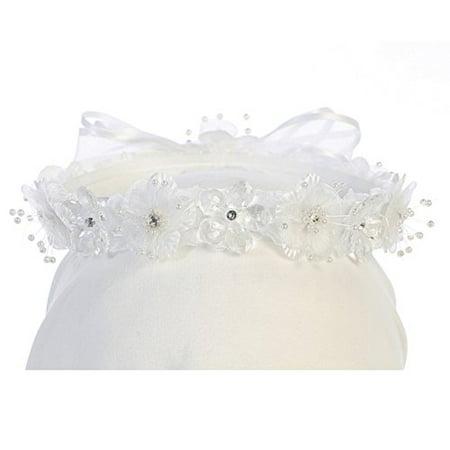 Flower Sparkle Beaded Headband Headpiece Hair Wreath Bow Flower Girl Crown White (A60G7)](Flower Headpiece)
