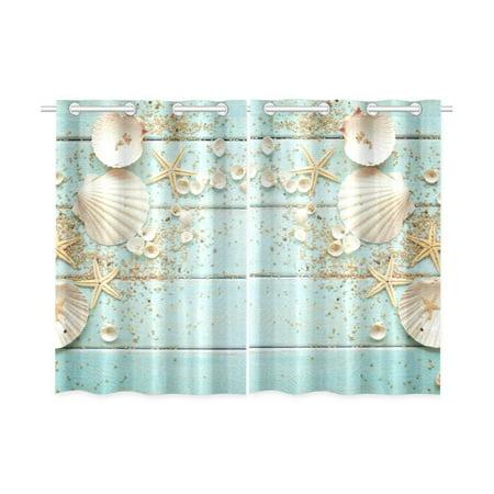 CADecor Beach Theme Window Kitchen Curtain, Seashell Starfish Window Treatment Panel Curtains,26x39 inches,Set of 2 ()