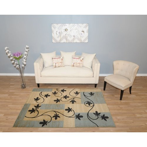 Rugnur Pasha Maxy Home Contemporary Floral Boxes Ocean Blue/Black Area Rug
