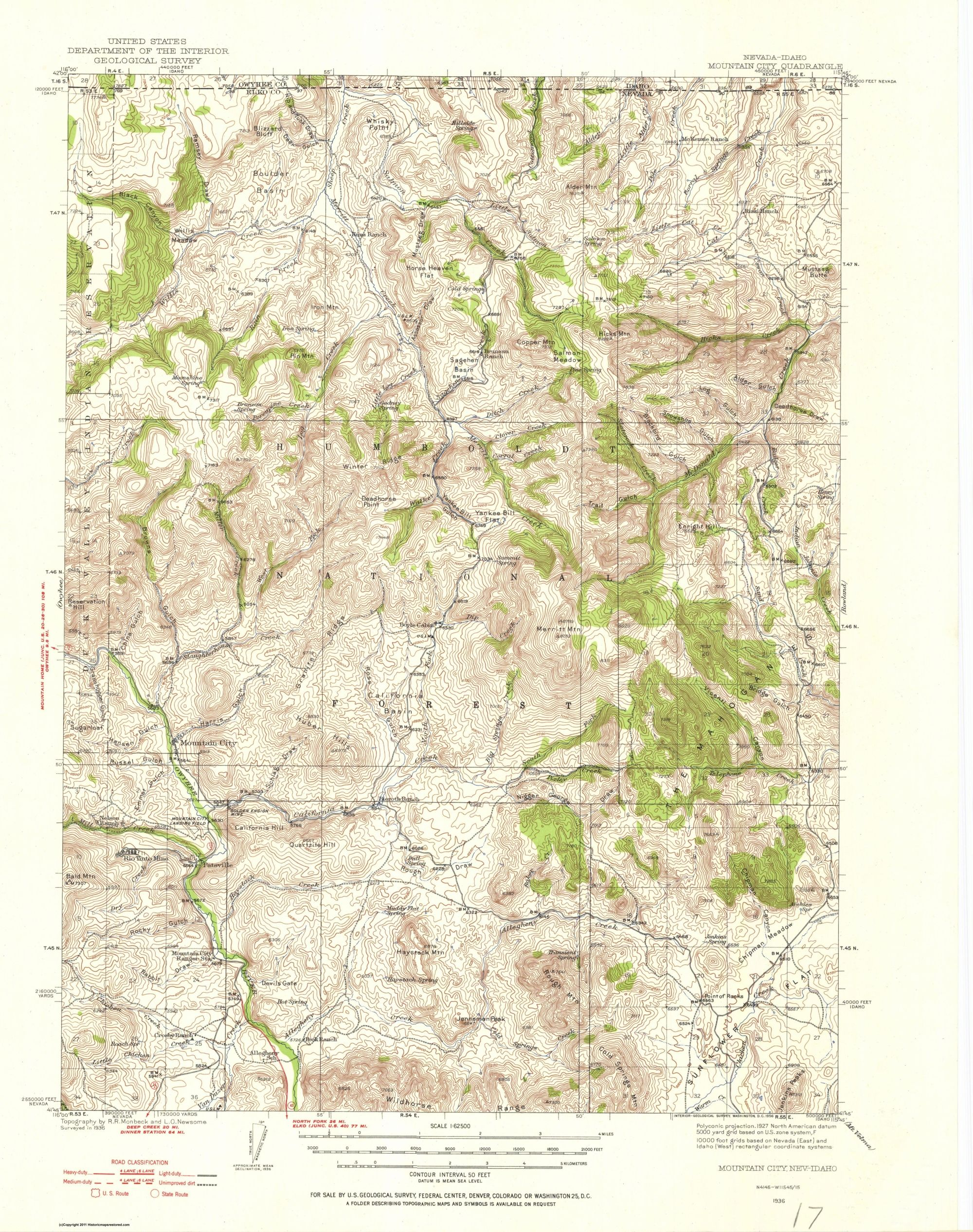 Topographical Map - Mountain City Nevada, Idaho Quad - USGS 1936 - 17 x  21.56