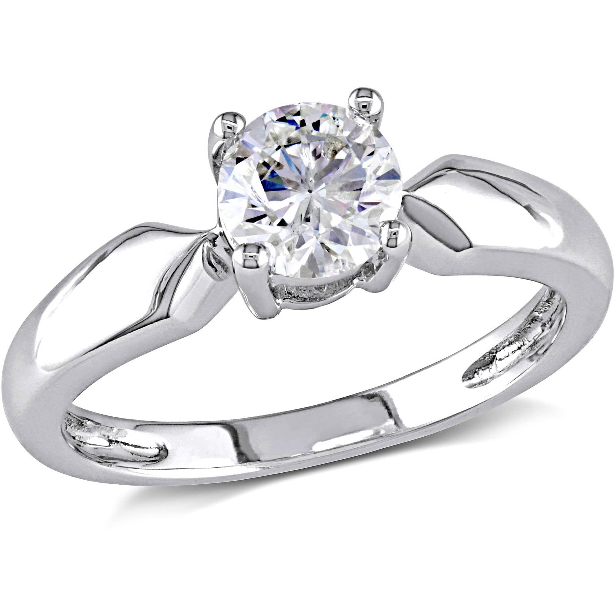 4 Carat Tw Round Diamond Solitaire Ring In 14kt White Gold   Walmart