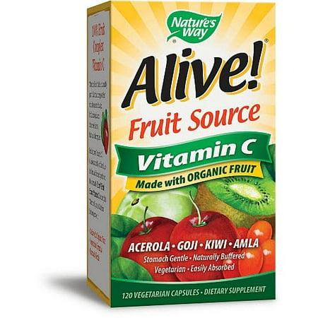 Nature's Way Alive! Fruit Source Vitamin C 120 Vegetarian Capsules
