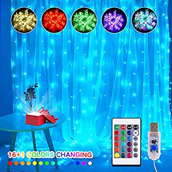 16 Color Changing Rainbow Curtain Lights Backdrop Window ...