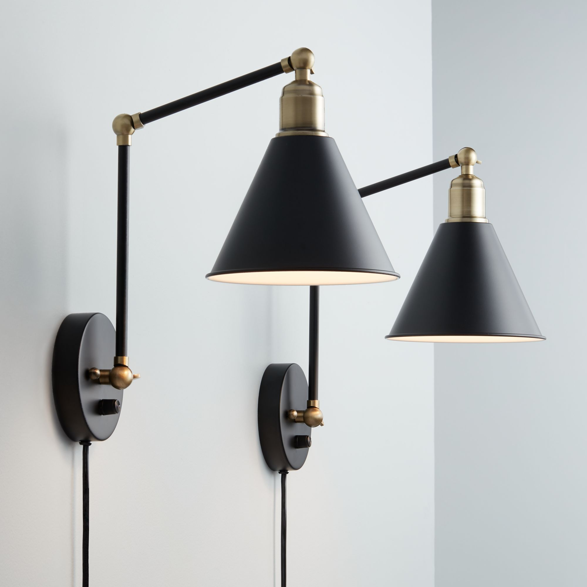 360 Lighting Wray Black And Antique Brass Plug-In Wall Lamp Set Of 2 by 360 Lighting