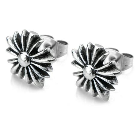 Tribal Wood Earrings - Stainless Steel Tribal Cross Stud Earrings