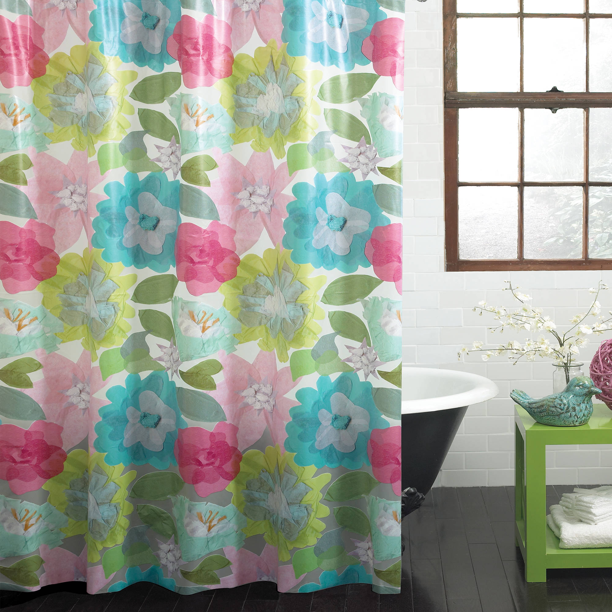 "Excell Floral Parchment Medium-Weight 100 percent PEVA Shower Curtain, 70"" x 72"", Multi-Colored"
