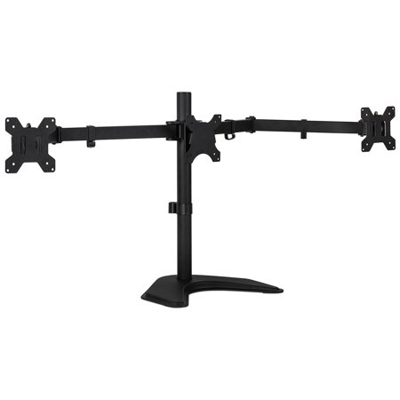 Mount-It! Triple Monitor Stand Freestanding LCD Computer Screen Desk Mount for 19, 20, 22, 23, 24 Inch Monitors