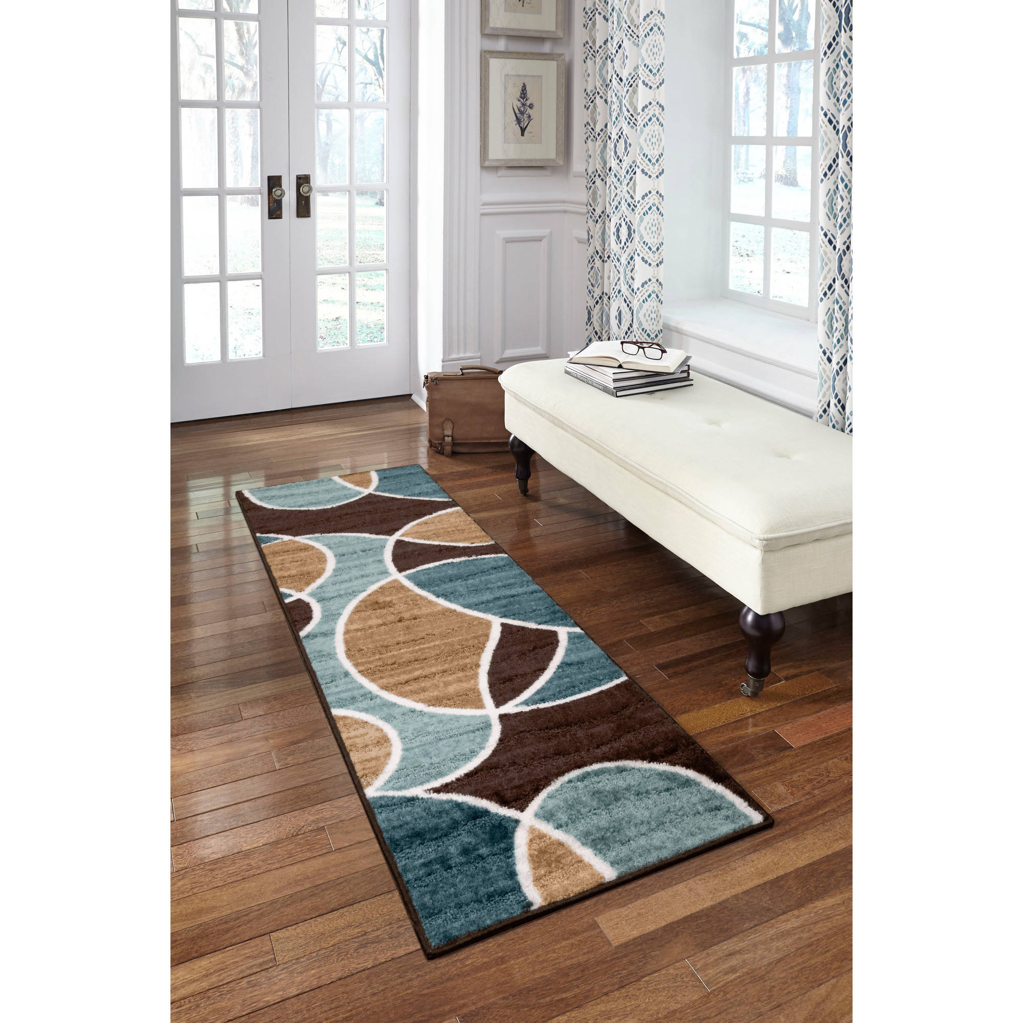 Better Homes and Garden Geo Waves Texture Print Runner, Blue/Brown