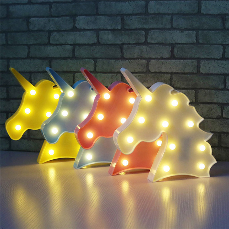Cute Unicorn Head Led Night Light Animal Marquee Lamps On Wall For