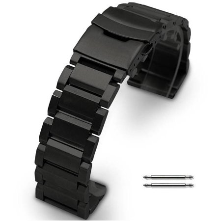 Nixon 51-30 Black Steel 25mm Metal Replacement Watch Band Strap Double Locking Clasp #5002NX ()