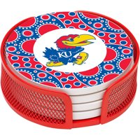 Stoneware Drink Coaster Set with Holder Included, University of Kansas Circles