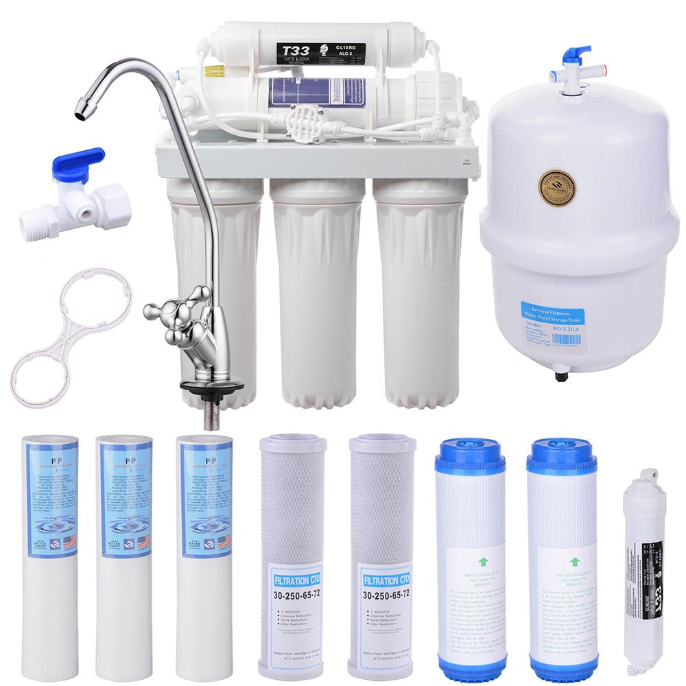 Yescom 5-Stage Home Drinking Aquarium RO Reverse Osmosis System and Extra 8 Water Filters 50 GPD