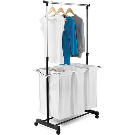 Honey Can Do Triple Laundry Sorter With Hanging Bar Black Chrome