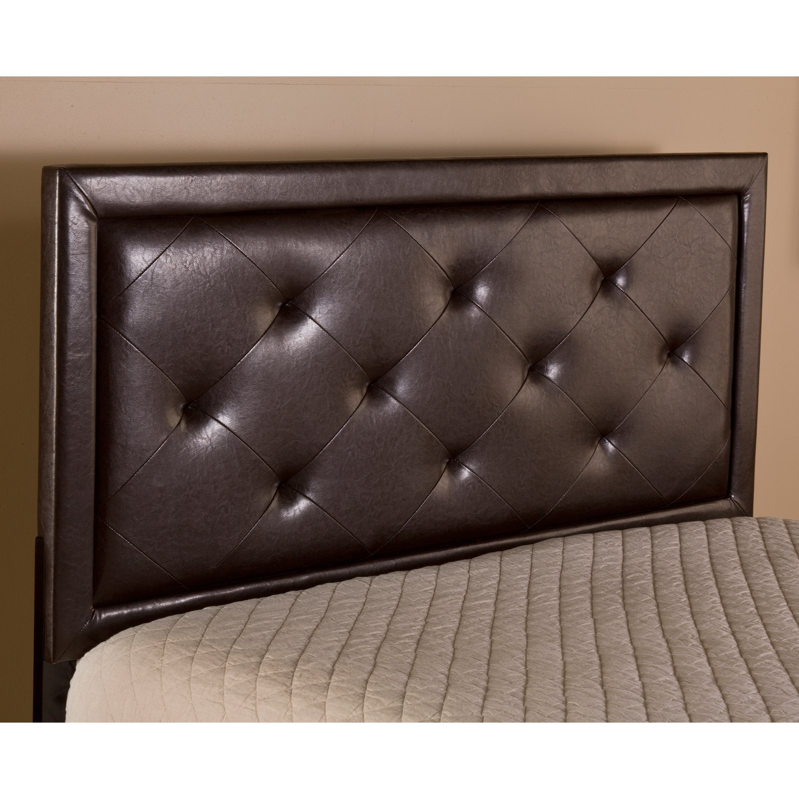 Hillsdale Furniture Becker Full Headboard with Bedframe, Brown Faux Leather
