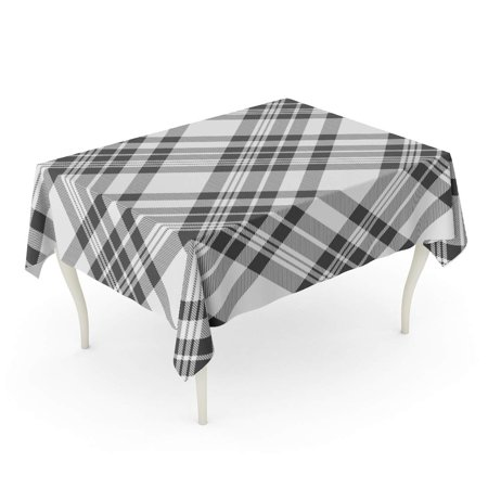 JSDART Gray Geometric Plaid Printing Pattern Check in Dark Grey and White Abstract Border Chec Tablecloth Table Desk Cover Home Party Decor 60x84 inch - image 1 de 1