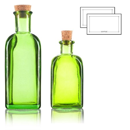 Green Spanish Thick Recycled Gl Bottle With Natural Cork Top Set 2 Pack 8