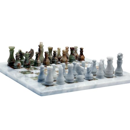 Handcrafted Marble Chess (RADICALn Handmade White and Green Onyx Marble Full Chess Game Original Marble Chess Set )