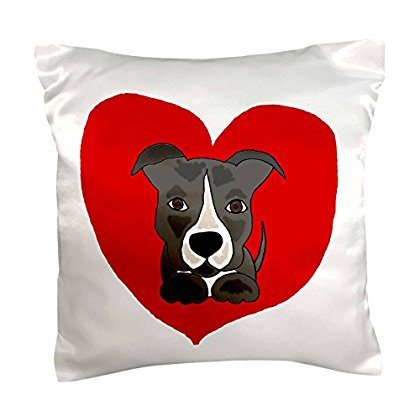 3dRose Fun Grey and White Pitbull Puppy Dog and Red Heart Love, Pillow Case, 16 by 16-inch ()