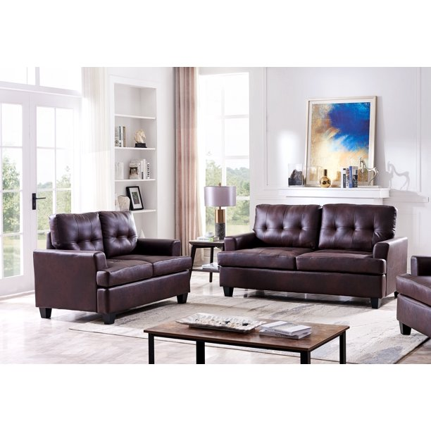 Molina 2 Piece Transitional Living Room Set, Brown Upholstered Faux Leather (Loveseat & Sofa)
