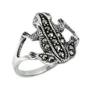 Sterling Silver Vintage Look Marcasite Frog Ring