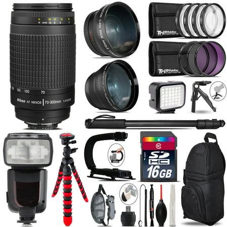 Nikon AF 70-300mm G + Pro Flash + LED Light + Tripod - 16GB Accessory