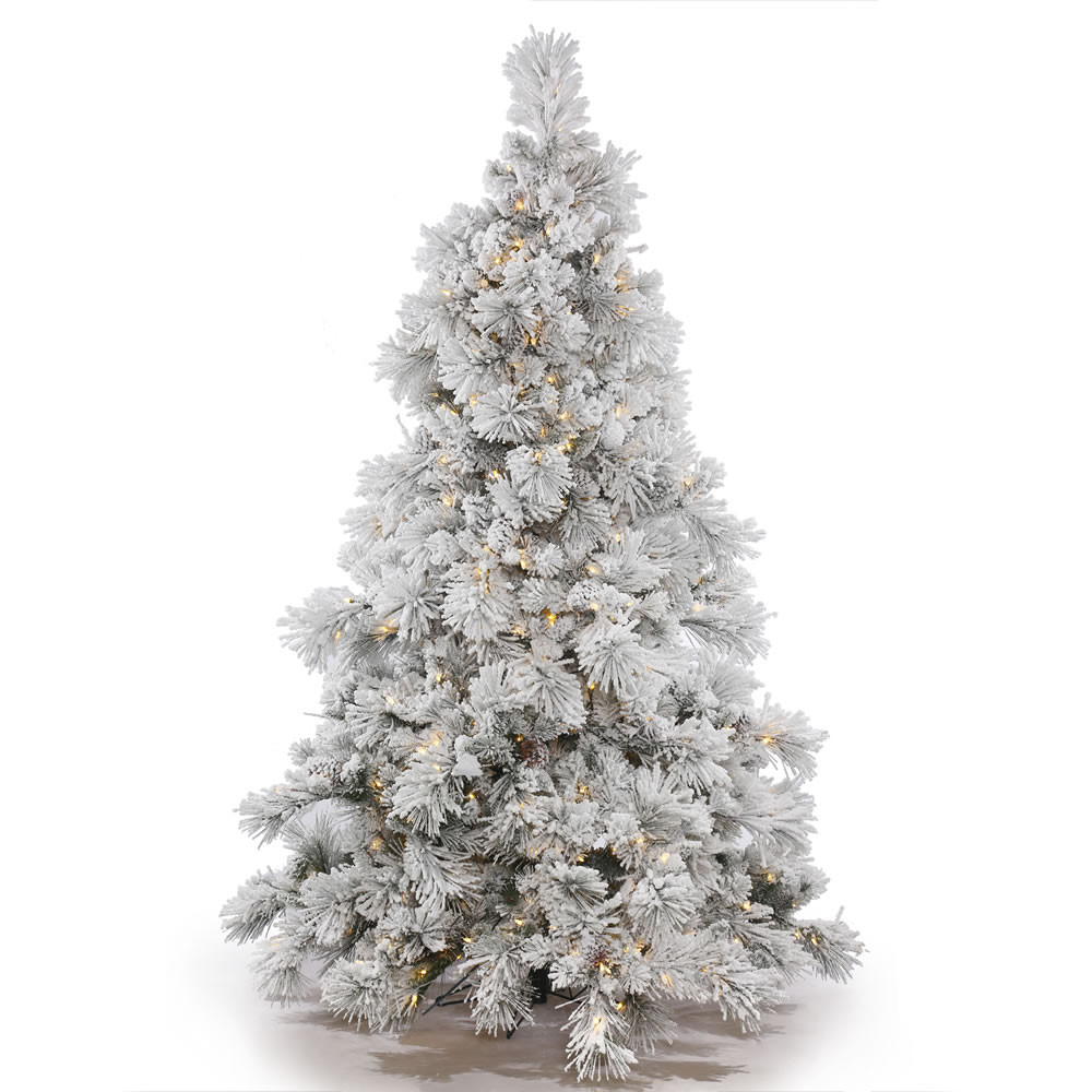 12 Ft Flocked Christmas Tree: Vickerman Pre-Lit 7.5' Flocked Alberta Artificial