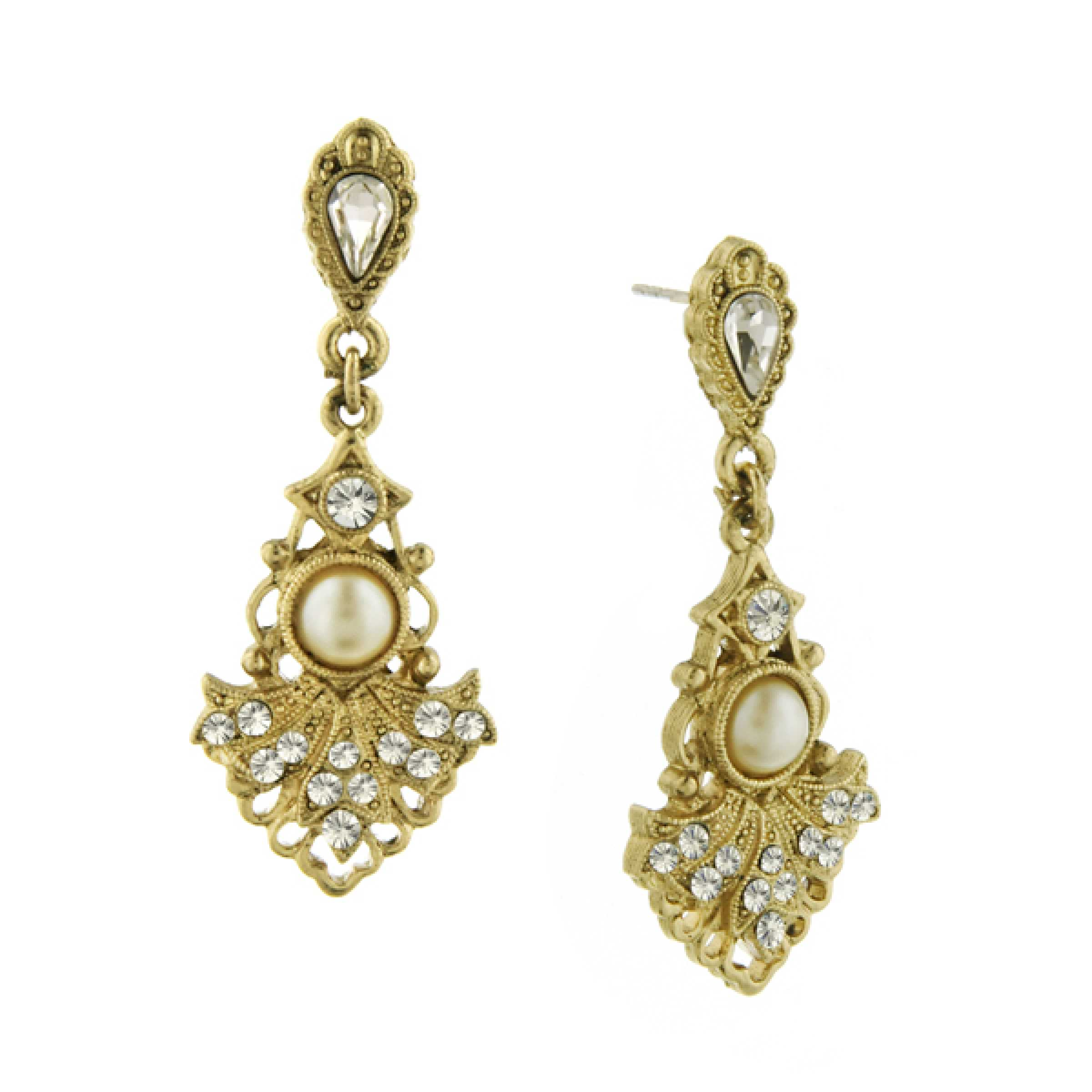 Elegant Crystal and Simulated Pearl Drop Earrings 17537 NEW