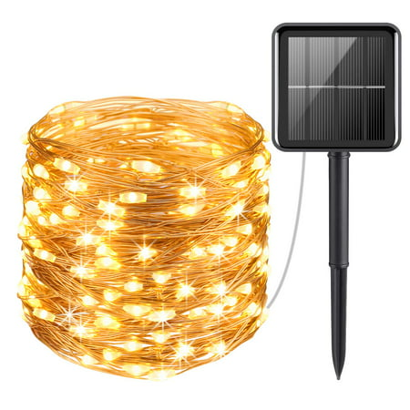 Solar String Lights Outdoor, 33ft 100 LED Solar Powered Fairy Lights Waterproof Decorative Lighting for Patio Garden Yard Party Wedding (Warm White)
