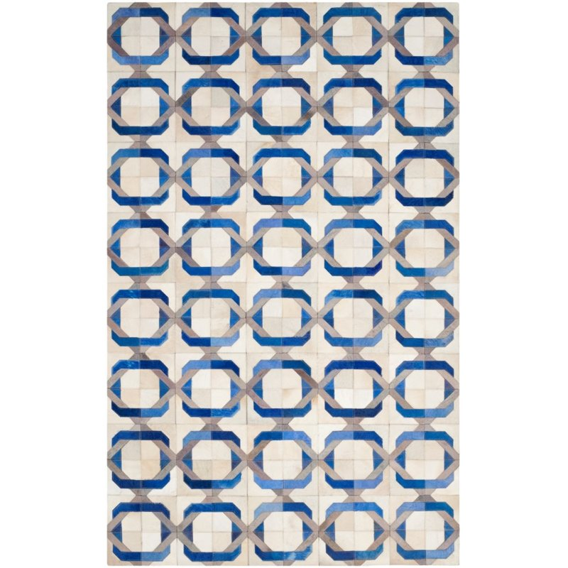 """Safavieh Studio Leather 2'3"""" X 7' Hand Woven Leather Rug in Ivory"""