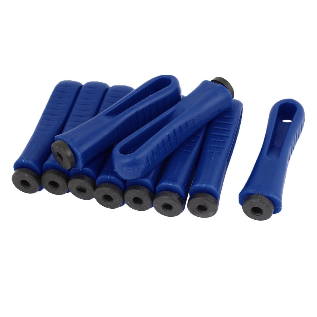 Unique Bargains Blue Plastic Nonslip File Handles Replacement Grater Pedicure Tool 10 Pcs
