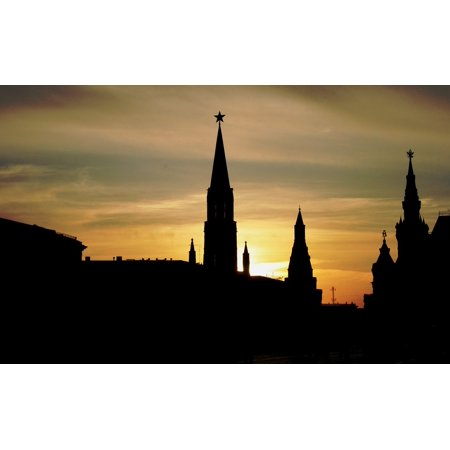 Peel-n-Stick Poster of Silhouette Red Square Skyline Historic Buildings Poster 24x16 Adhesive Sticker Poster - Skyline Square