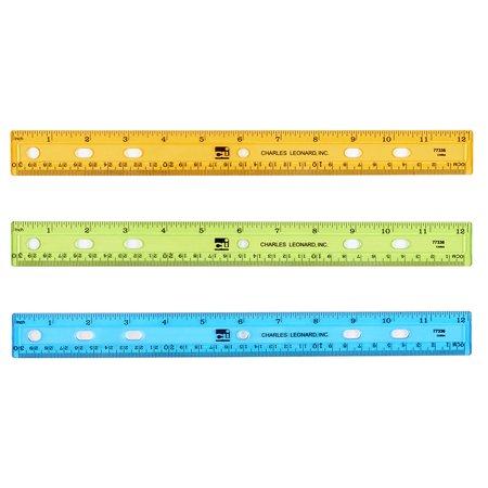Charles Ruler - TRANSLUCENT 12IN PLASTIC RULER ASST COLORS