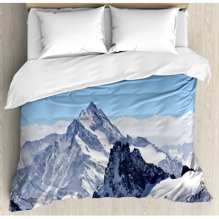 Winter Decor Queen Size Duvet Cover Set  Snowy Rocky Mountain Peaks Tops Scene High Lands Icy Frozen Swiss Outdoor Art  Decorative 3 Piece Bedding Set With 2 Pillow Shams  Blue White  By Ambesonne