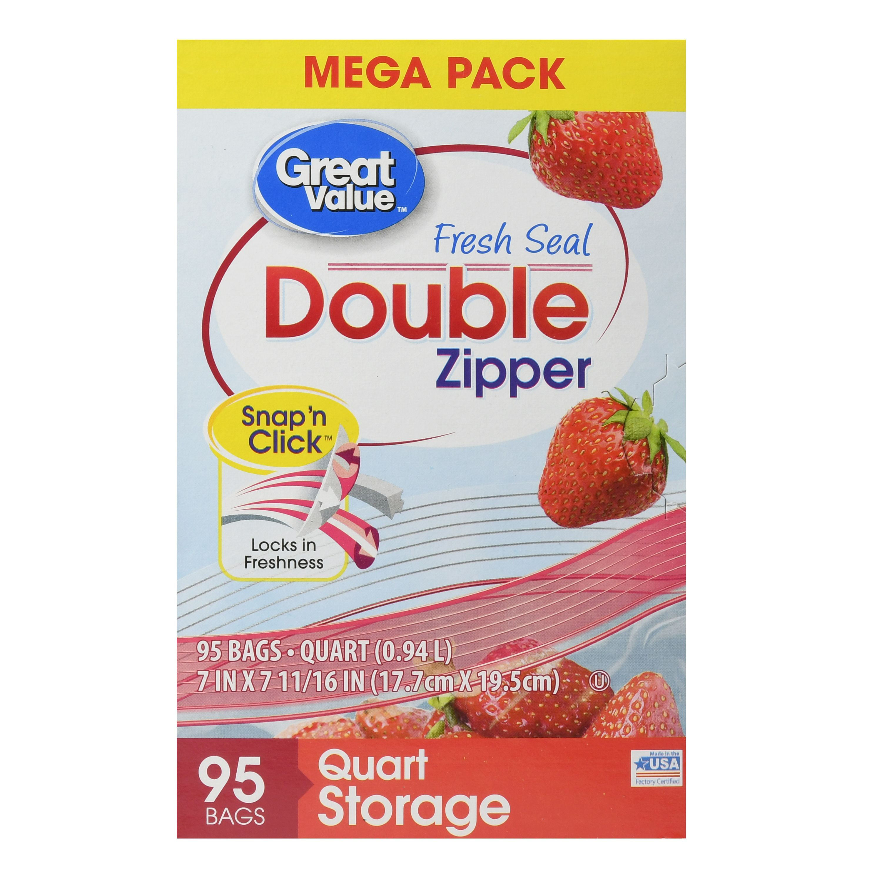 Great Value Fresh Seal Double Zipper Bags, Mega Pack, Quart, 95 Count